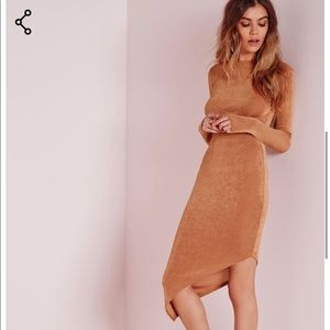 NWT! Missguided tan asymmetrical long sleeve dress